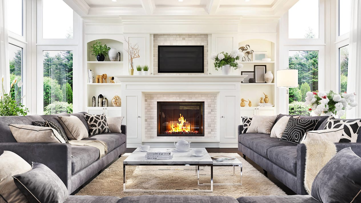 Cozy Living Room With Fireplace In Nyc