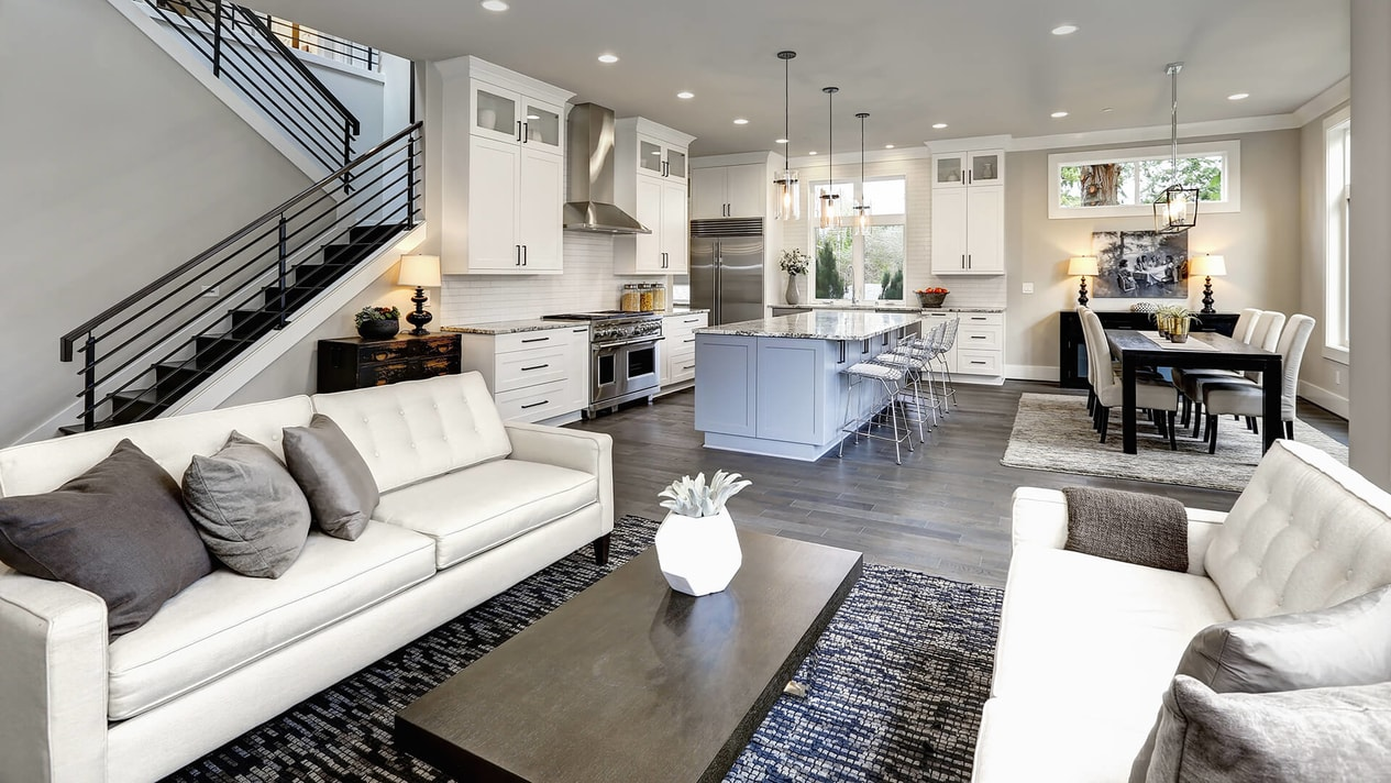 Open Kitchen And Living Room On A New York Home